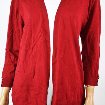Karen Scott Women Red Open Front Buttoned Cuff Cardigan Shrug Top M