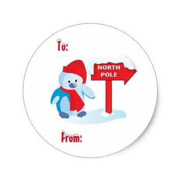 North Pole Penquin Classic Round Sticker