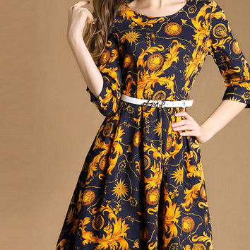 Yellow Floral Print Belted A-Line Dress