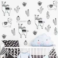 Alpacas and Cacti Wall Decals Kids Room DIY Stickers for Baby Room Removable Wall Sticker Cute Decoration
