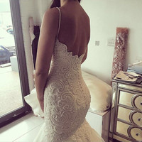 2016 Vintage Spaghetti Strap Sweetheart Beaded Pearls Sleeveless Mermaid Wedding Dresses