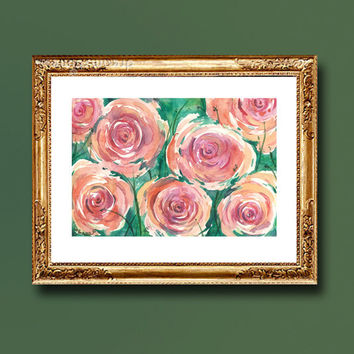 Pink & orange Roses  Landscape / Flowers Watercolor Painting / Contemporary Colorful  Gorgeous  Home and Wall decor