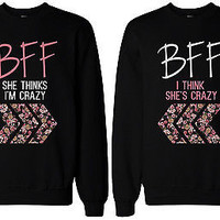 Crazy BFF Floral Printed Sweater BFF Matching SweatShirts for Best Friends