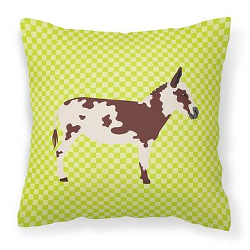 American Spotted Donkey Green Fabric Decorative Pillow BB7677PW1414