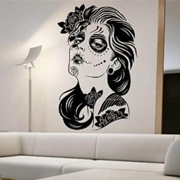 Day of the Dead Wall Decal Roses Vinyl Art Home Decor Sugar Skull