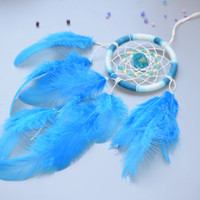 Car accessory for women, Mirror Charm with Blue Shell and Glass Beads, Boho Wall Hanging.