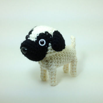 Pug Stuffed Animal Amigurumi Dog Crochet Puppy Plush Doll / Made to order