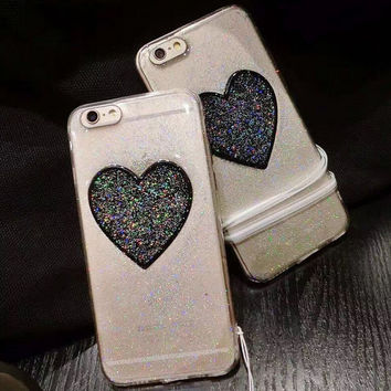 Heart-shaped Twinkle Case for iPhone 7 7Plus & iPhone se 5s 6 6 Plus Best Protection Cover -0323