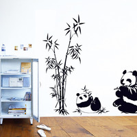 100cm panda bamboo home decoration wall sticker,living room decal,Chinese style,traditional Chinese ink painting art wall decal