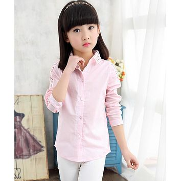 autumn children's clothes girls blouses causal long sleeve hollowed cotton baby girl blouse for girls kids shirts tops
