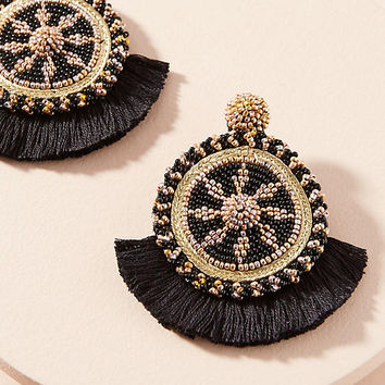 Havana Beaded Tassel Drop Earrings