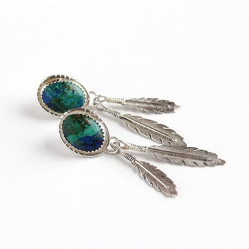 Vintage Sterling Silver Azurite Earrings - Retro Native American Style 1960s 1970s Blue Green Stone Feather Motif Pierced Back Jewelry