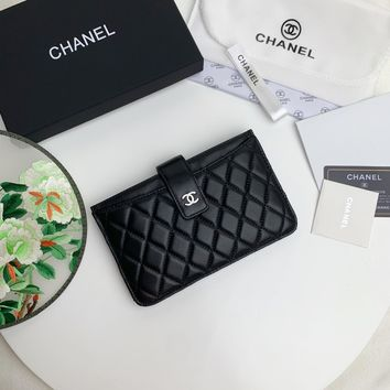Kuyou Gb99822 Chan A84436 Card Holder In Smooth Leather With Silver Clasp 18.5*12cm