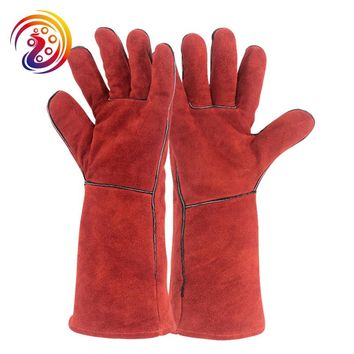 OLSON DEEPAK Cow Split Leather Work Gloves Long Welders Glove Barbecue Carrying Factory Gardening Protective HY035