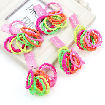 50pcs/lot Children's hair accessories solid candy color elastic hair bands cute small headbands ropes ties holders gift #JH099