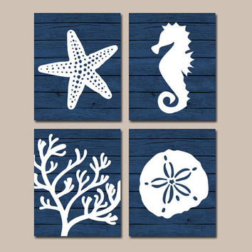 Beach BATHROOM Wall Art, CANVAS or Prints, Nautical Coastal Bathroom Decor, NAVY Starfish Seahorse, Coral Reef, Wood Plank Design, Set of 4