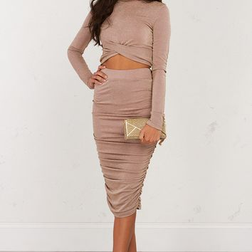 Ruched Bodycon Midi Skirt in Taupe