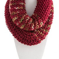 Multi Crotchet Infinity Scarf in Burgandy