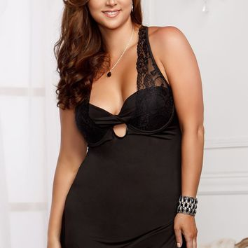 Plus Size Stretch Lace Microfiber Babydoll (3X,Black)