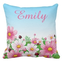 Spring Summer Floral Flower Daisy Baby Name Throw Pillow