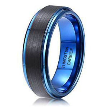 8mm Tungsten Ring Black Brushed Surface Dark Blue Step Edge Wedding Band
