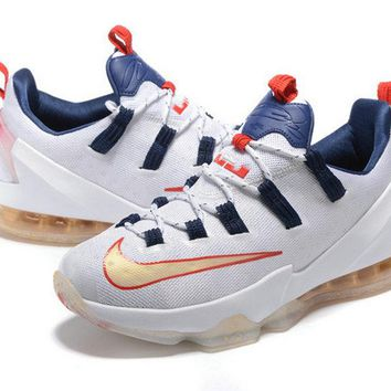 Buy Lebron 13 Low USA 2016 Rio Olympics White Gold Navy Red Brand sneaker