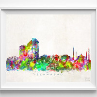 Islamabad Skyline, Pakistan Print, Watercolor Painting, Cityscape, City Poster, Dorm Room Decor, Wall Art, Home Decor, Christmas Gift