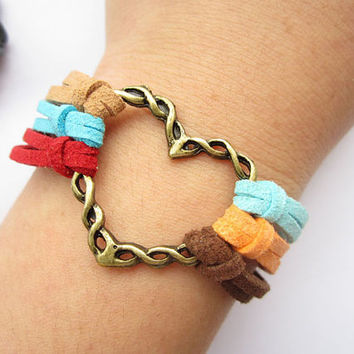 love bracelet---antique bronze love heart pendant  love bracelet& colorful rope chain