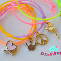 Set of 5 - Neon Rubber Golden Charm Bracelets - Customs Are Welcome - Handmade by PinkSugArt