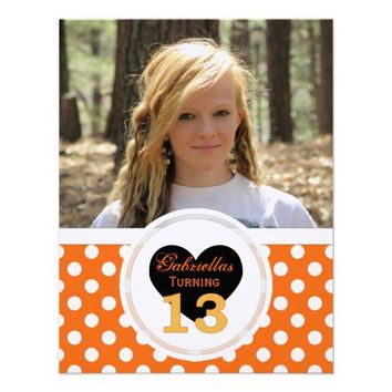 Polka-dot 13th Birthday: Picture:Party Invitation from Zazzle.com
