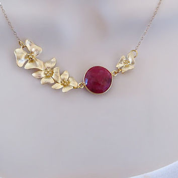 Gold Lotus Necklace, Genuine Ruby Gemstone Necklace, Statement Necklace, Mothers Necklace, Bridal Jewelry, Flower Necklace