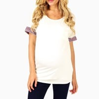 Ivory-Tribal-Embroidered-Sleeve-Maternity-Top