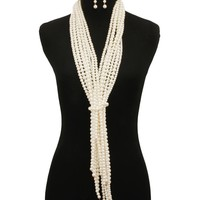 Multi Layered Pearl Necklace Set - Cream