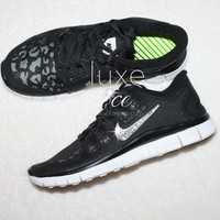 NIKE run free 5.0 running shoes w/Swarovski Crystals detail - Black/cheetah shield