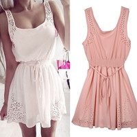 Pink Sleeveless Casual Summer Dress