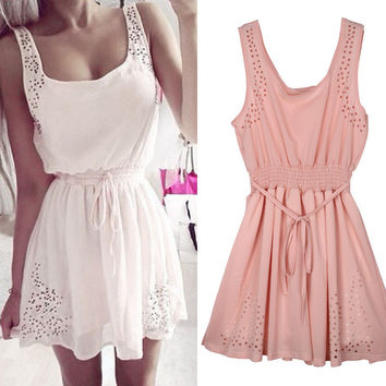 New Hot Sexy Women Slim Sleeveless Hollow Casual Summer Dress 2015 Lady White Chiffon Evening Party Mini Dresses Vestidos Gift