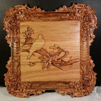 Dove on Branch Wood Carving Wall Hanging Detailed Ornate Wood Carved Floral Border 3D Wood Carved Frame Wood Art Handmade in USA - Texas