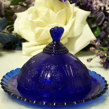 Round Blue Strawberry Butter Dish