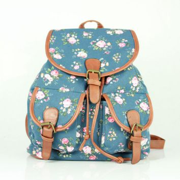 Blue Flower Cute Large College Backpacks for School Bag Canvas Daypack Travel Bag