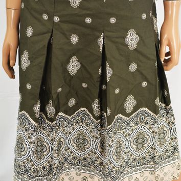 Charter Club Women's Cotton Green Pleated Printed A-Line Skirt 8