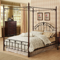 Oxford Creek Queen Size Wood and Metal Canopy Bed