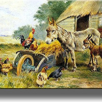 Donkey Mule Chicken Farm Kitchen Picture on Stretched Canvas, Wall Art Decor, Ready to Hang!