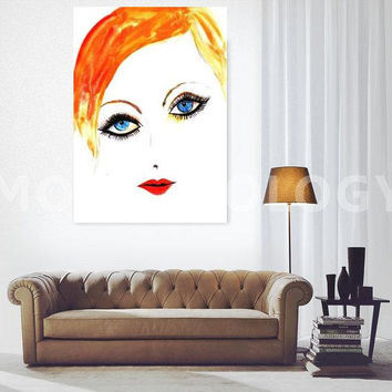 Twiggy, Printable Wall decor, Woman face decals, painting, watercolor illustration, minimalist, fashion chic, beauty makeup art, short hair