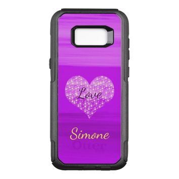 Custom purple love heart with shining stars name OtterBox commuter samsung galaxy s8+ case