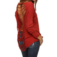 Red Shredded Thermal Top