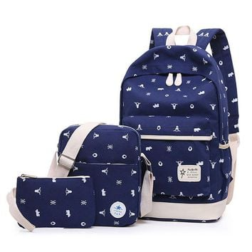 3 PCS / Set Ladies Backpack Canvas Print Student Bag Teen Girl Backpack Cute Backpack Schoolbag Ladies Large Capacity School Bag