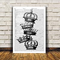 Crown poster Royal print Antique art Modern decor RTA50