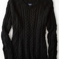 AEO Women's Cable Knit Sweater (Black)