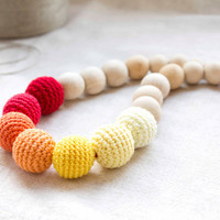 Sunny Bright Nursing Necklace - Red/Orange/Yellow Crochet Necklace -  Breastfeeding Necklace - Teething necklace with crochet beads