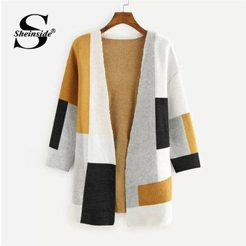 Sheinside Colorblock Open Front Sweater Cardigan Women Long Coat Multicolor Geometric Long Sleeve Clothes Autumn Ladies Outwear